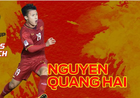 Vietnam's midfielder Nguyen Quang Hai. Photo: Fox Sports Asia