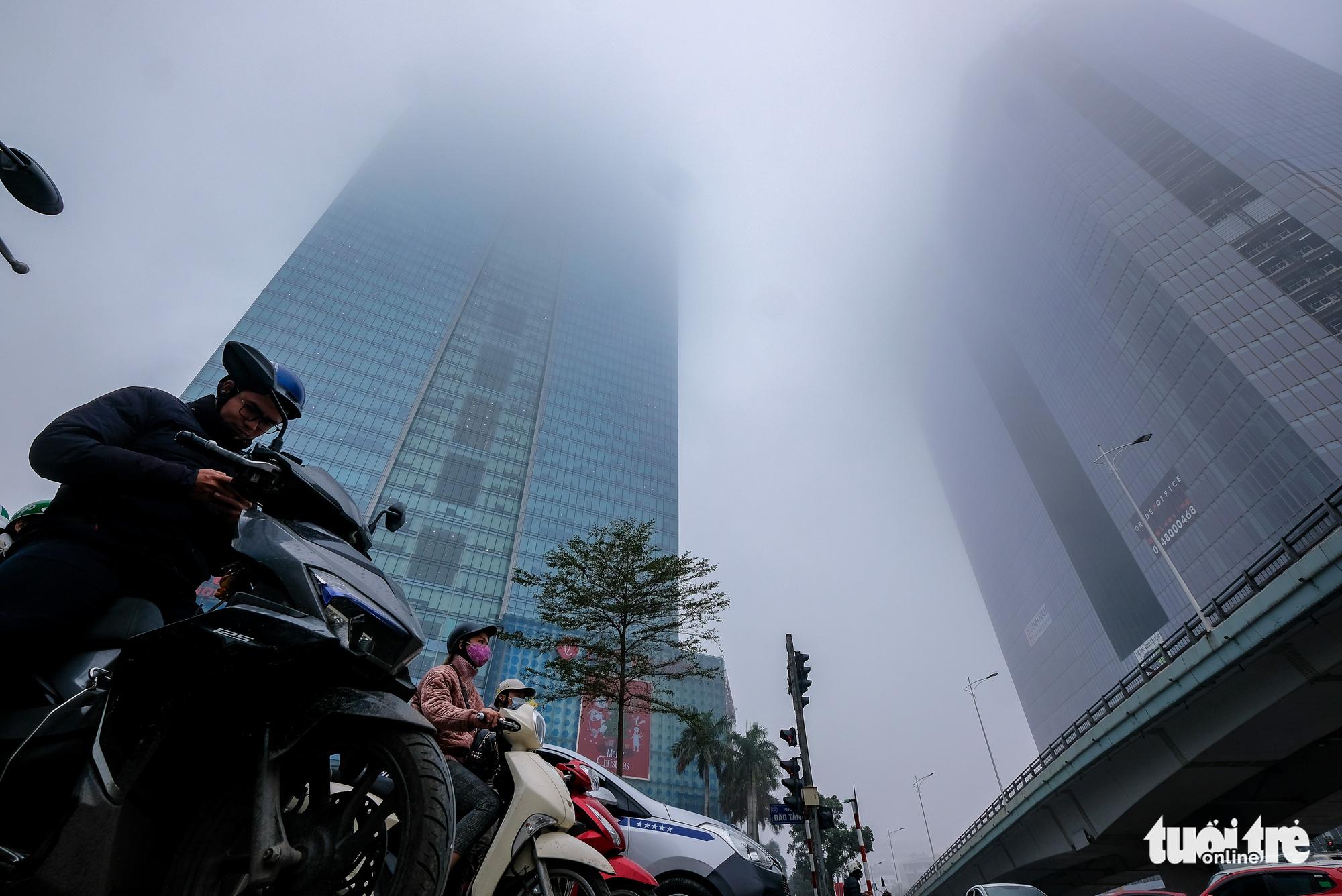 Fog envelops Hanoi sky