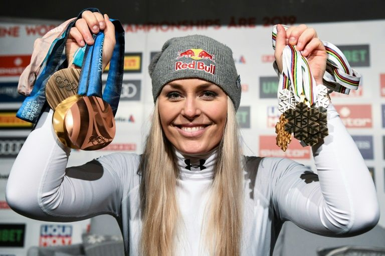 Lindsey Vonn showed off some of her many medals after her farewell downhill at the ski World Championships.