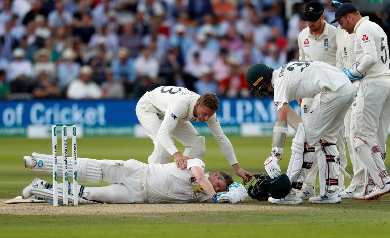 Steve Smith took a terrifying blow to the head but return to continue dominating the England bowlers.