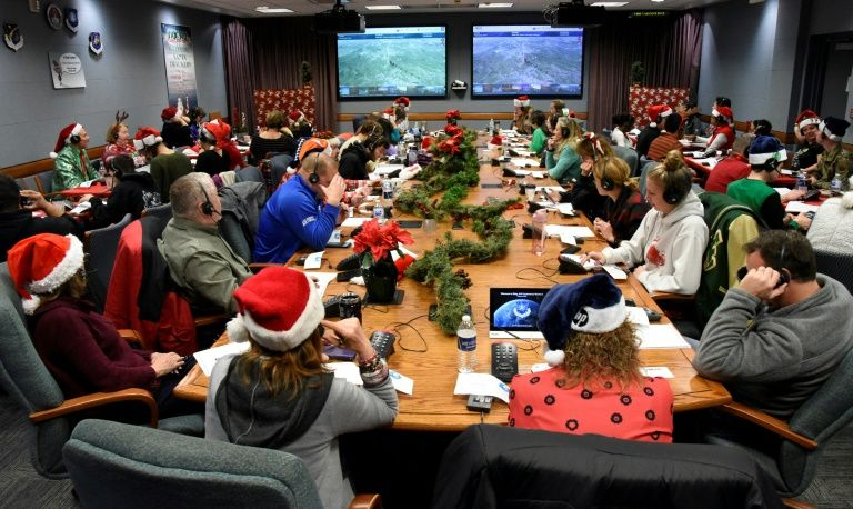 NORAD has been tracking Santa since 1955 -- the NORAD Tracks Santa Operation Center at Peterson Air Force Base, Colorado, is pictured on December 24, 2019. Photo: AFP