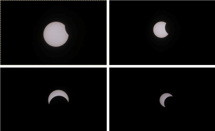 Four phases of a solar eclipse as seen from Ho Chi Minh City on December 26, 2019. Photo: Chan Hung / Tuoi Tre