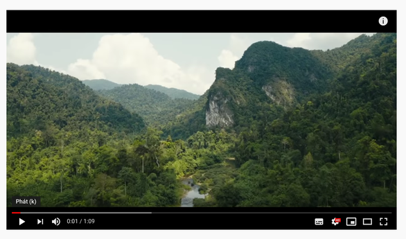 A screenshot shows a scene featuring Quang Binh Province in Vietnam in the trailer for 'Alone, Pt. II' music video