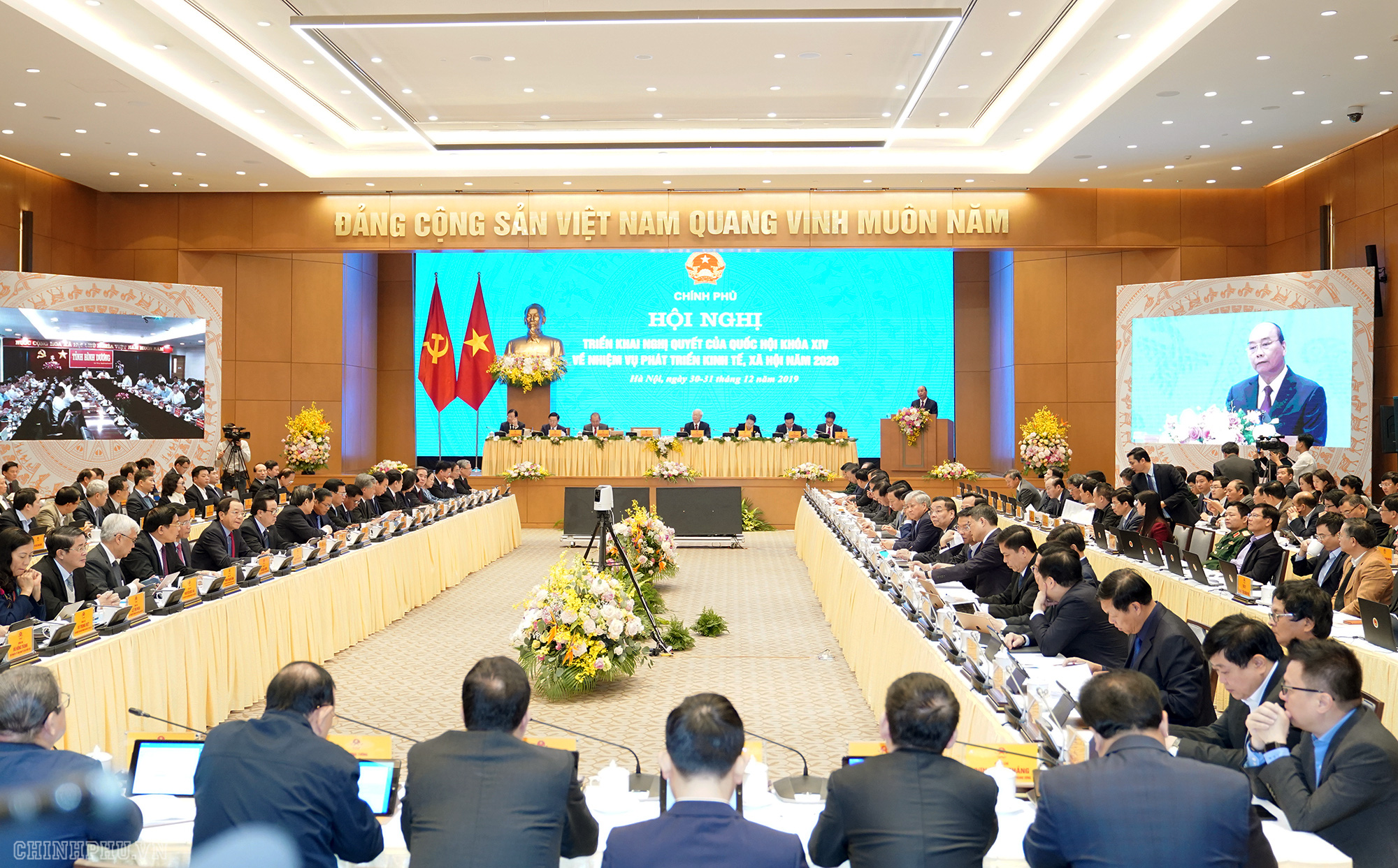 Delegates attend a government teleconference in Hanoi on December 30, 2019. Photo: Vietnam Government Portal