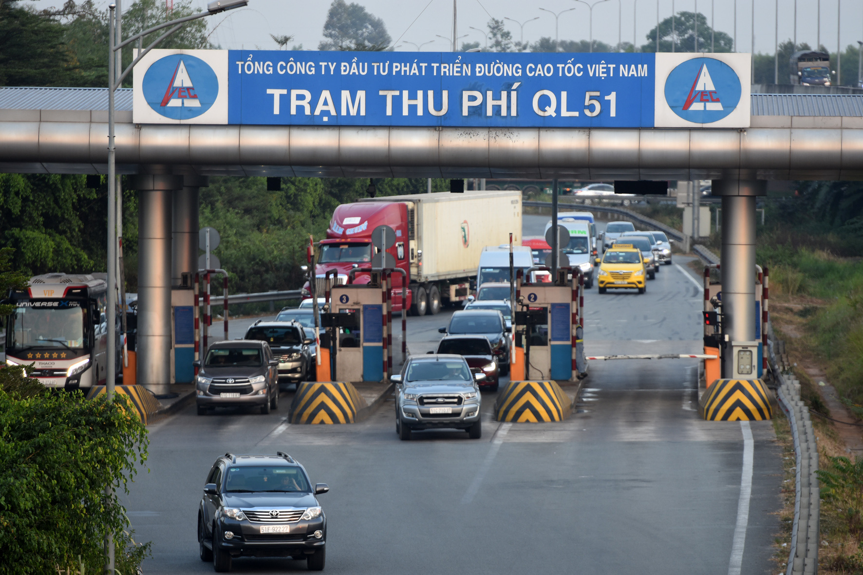 A tollgate along the Ho Chi Minh City-Long Thanh-Dau Giay Expressway where a robbery took place on January 3, 2020. Photo: A Loc / Tuoi Tre