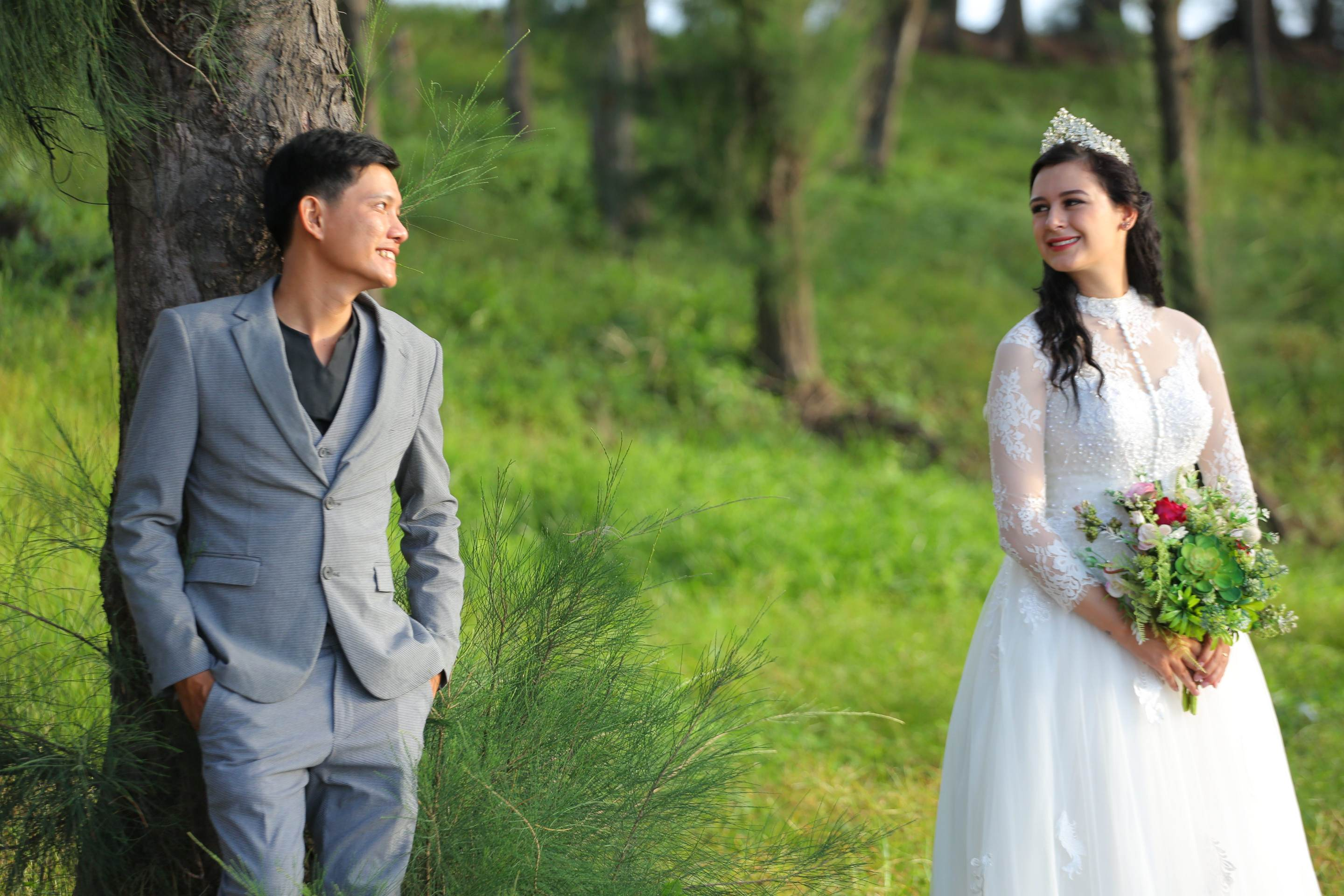 Rachel Louise Soubra and Vietnamese husband Quach Trong Trung are seen in a pre-wedding photo she provided Tuoi Tre News