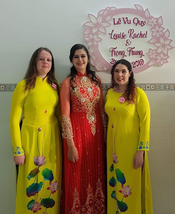 Rachel Louise Soubra (R) is seen wearing ao dai on her wedding day. Photo: Supplied