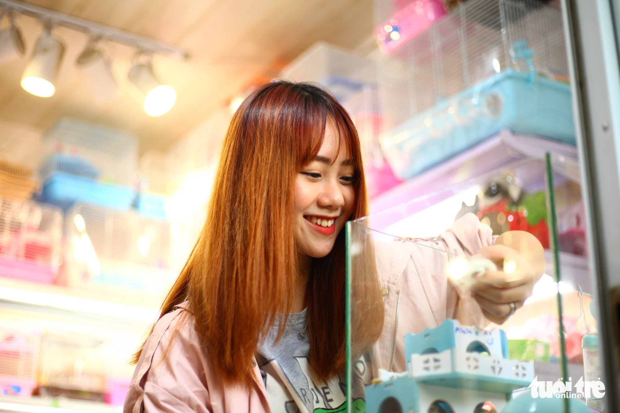 Linh Dan, a resident of Thanh Xuan District, Hanoi, shops for a hamster at a local pet shop. Photo: Mai Thuong / Tuoi Tre