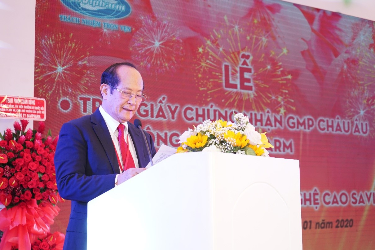 Meritorious Doctor, Pharmacist Specialist II Tran Tuu, Chairman and General Director of SaVipharm,  speaks at a ceremony receiving the firm's EU Good Manufacturing Practice certificate in Ho Chi Minh City on January 7, 2020. Photo: SaVipharm