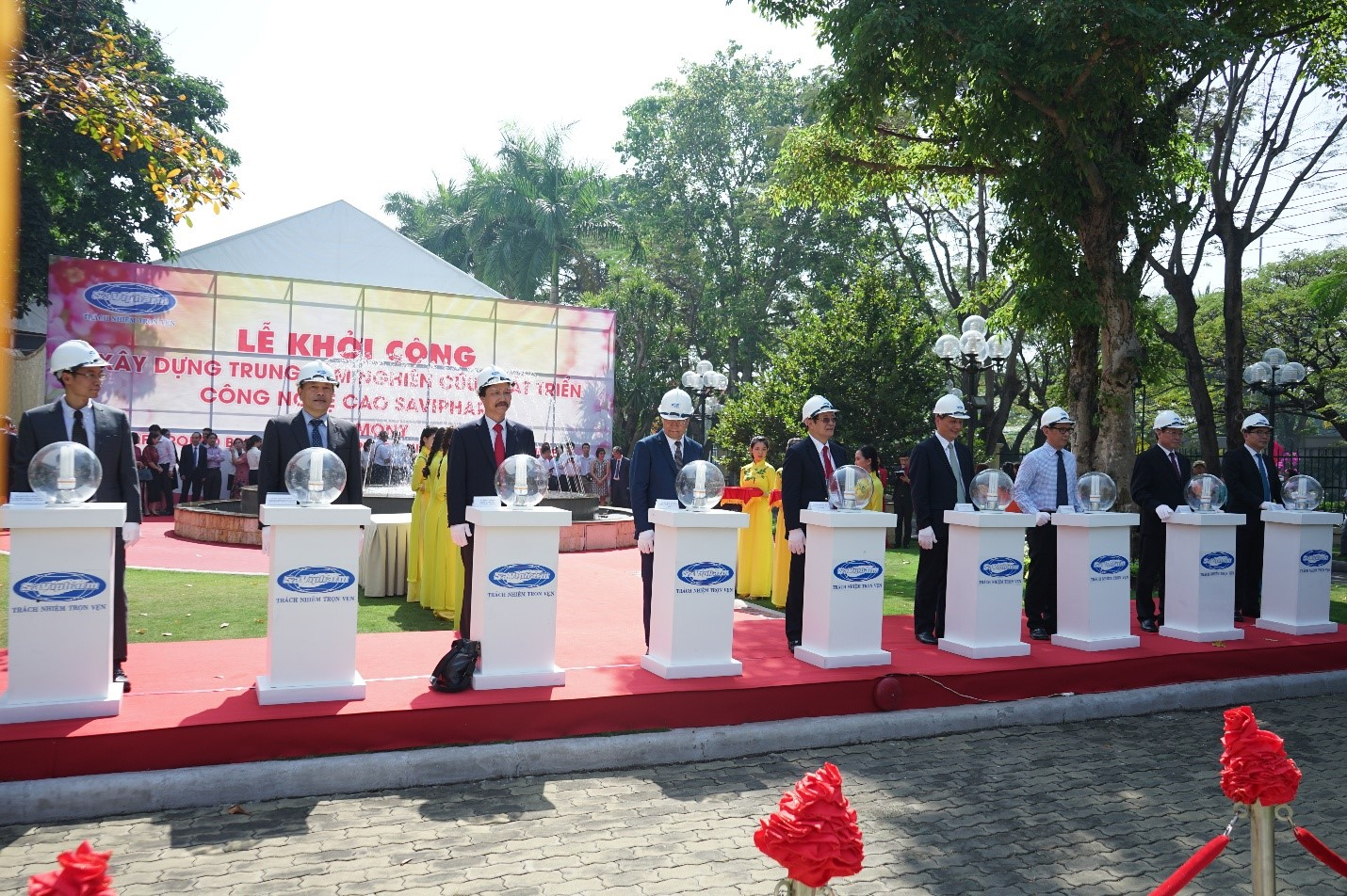 Officials and SaVipharm leaders take part inn a groundbreaking ritual for the firm's new high-tech research and development center in Ho Chi Minh City on January 7, 2020. Photo: SaVipharm