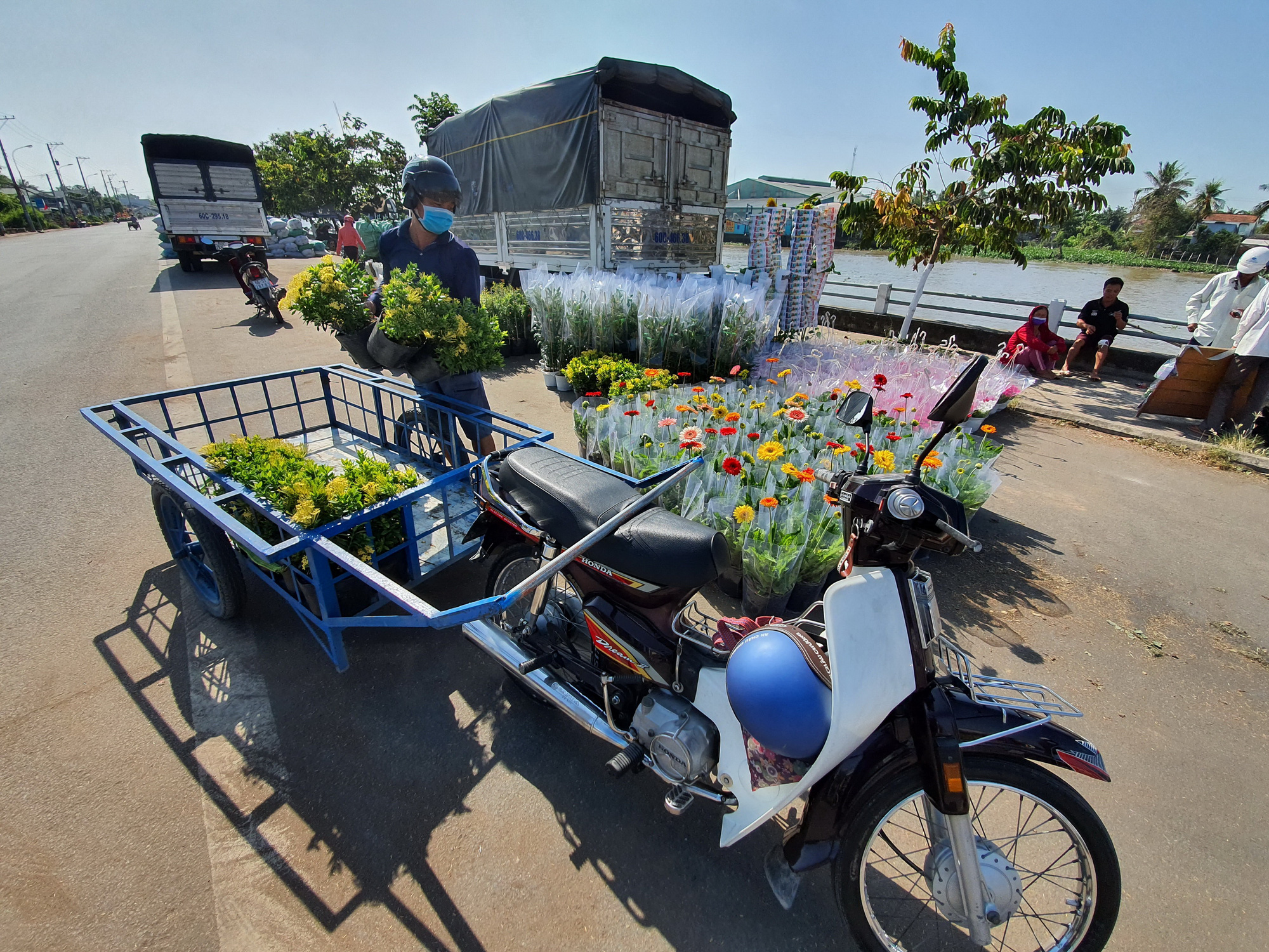 Flowers pots are loaded onto a cart. Photo: Chi Quoc / Tuoi Tre
