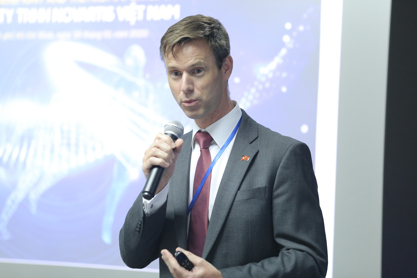 Roeland Roelofs, Novartis country president in Vietnam, speaks at the inauguration ceremony in Ho Chi Minh City on January 16, 2020.