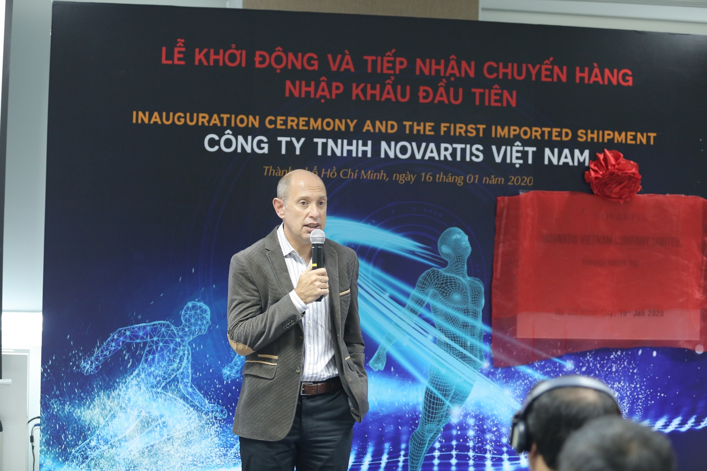 Alexis Serlin, head of the Asia Cluster at Novartis, speaks at the inauguration ceremony in Ho Chi Minh City on January 16, 2020.