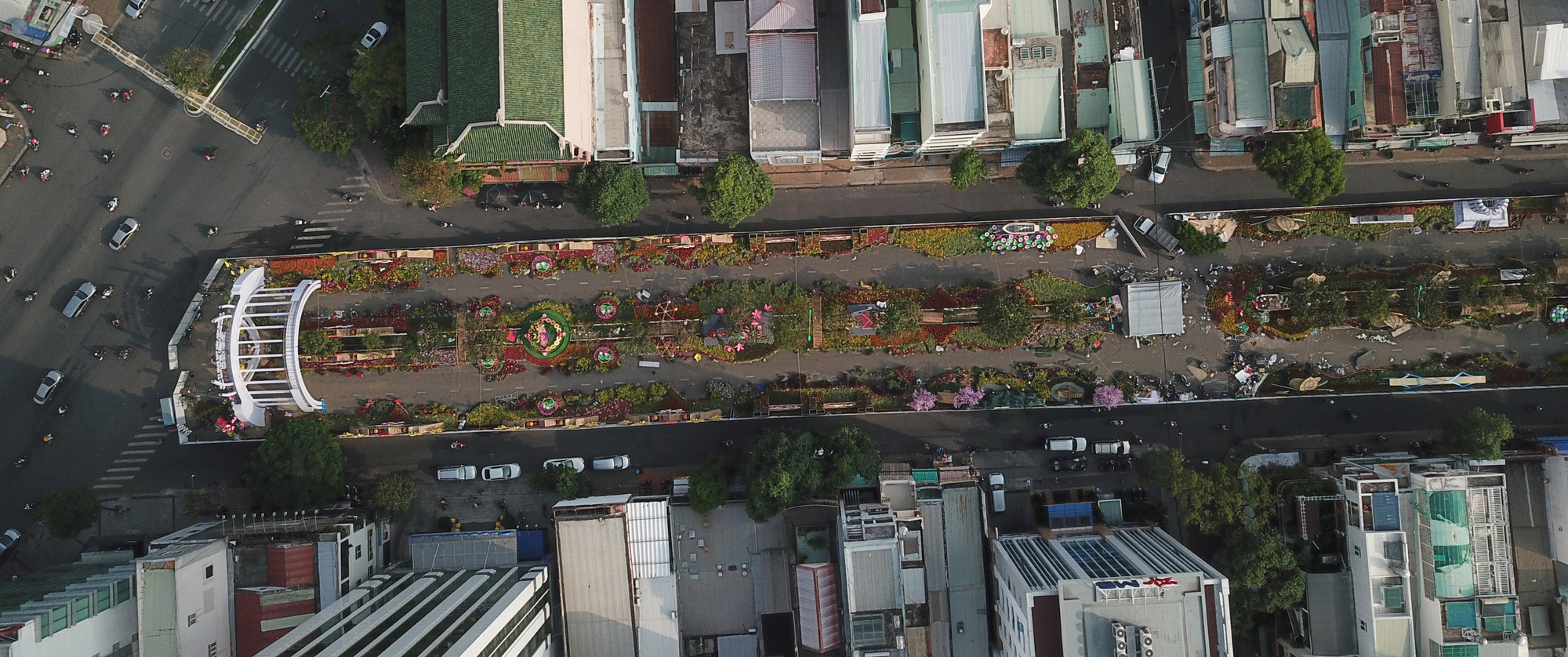 A bird's eye view of the under-construction 2020 Can Tho Flower Street in Can Tho City, Vietnam. Photo: Chi Quoc / Tuoi Tre