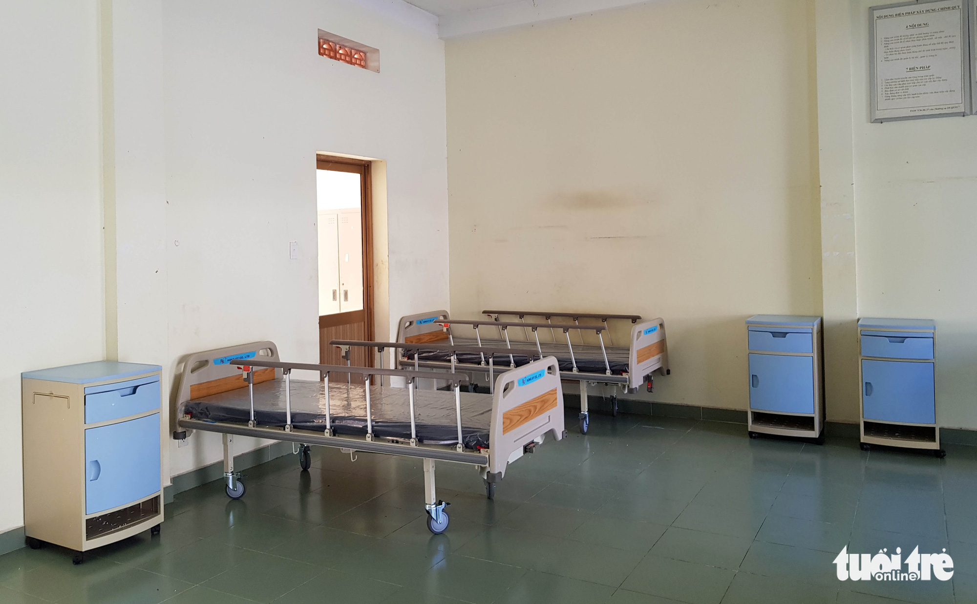 Inside one of the rooms of the makeshift hospital. Photo: Ngoc Hien / Tuoi Tre