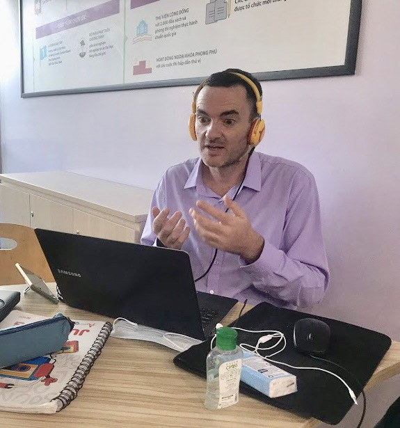 A teacher delivers a lesson via Yola English center's online platform amid a school closure due to COVID-19 in Ho Chi Minh City, Vietnam. Photo: Yola