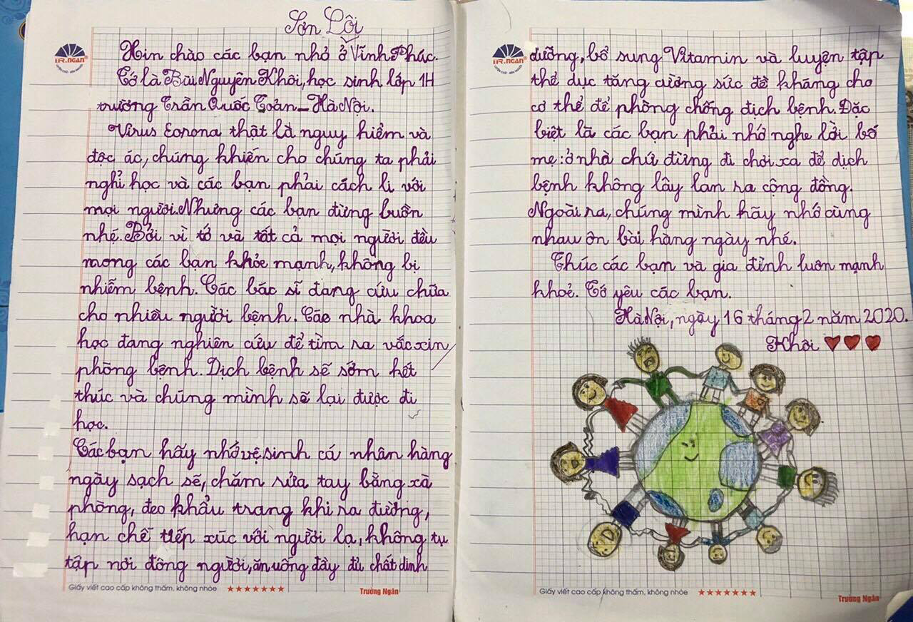 A letter from a first-grade student at Tran Quoc Toan elementary school in Hanoi to children in Vinh Phuc Province, Vietnam is seen in this provided photo.