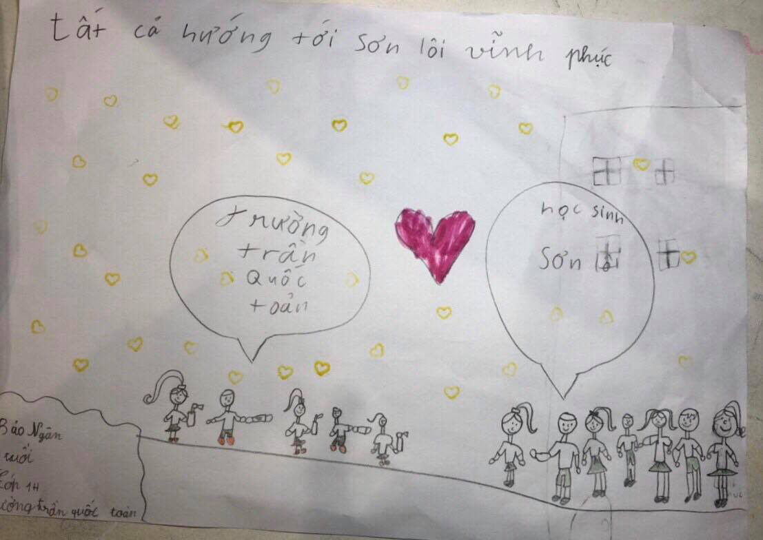 A drawing sent by a first-grade student at Tran Quoc Toan elementary school in Hanoi to children in Vinh Phuc Province, Vietnam is seen in this provided photo.