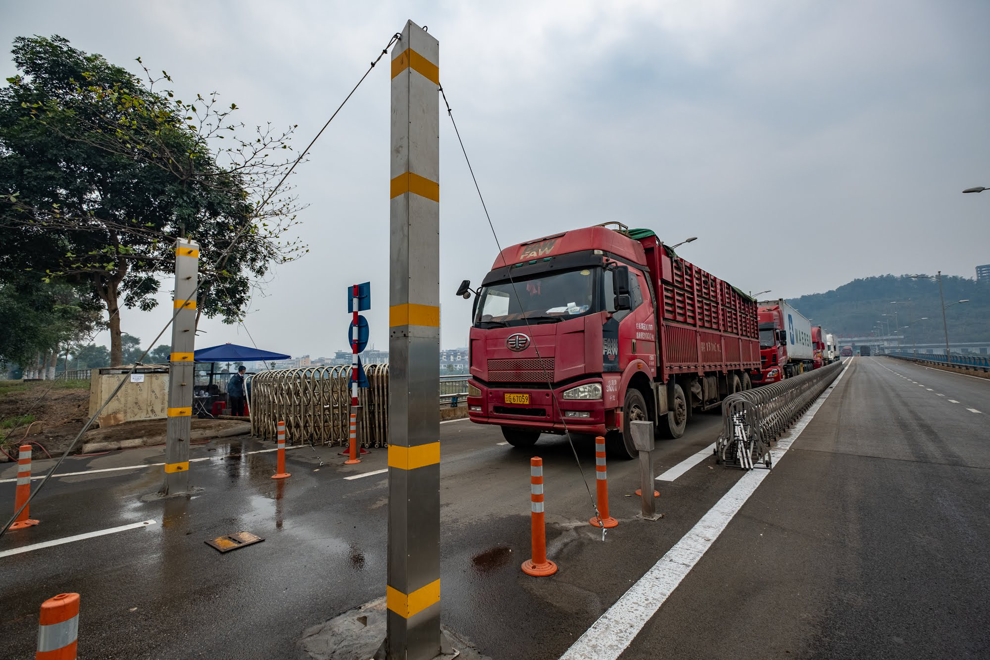 Trucks line up at Kim Thanh Border Gate in Lao Cai Province.
