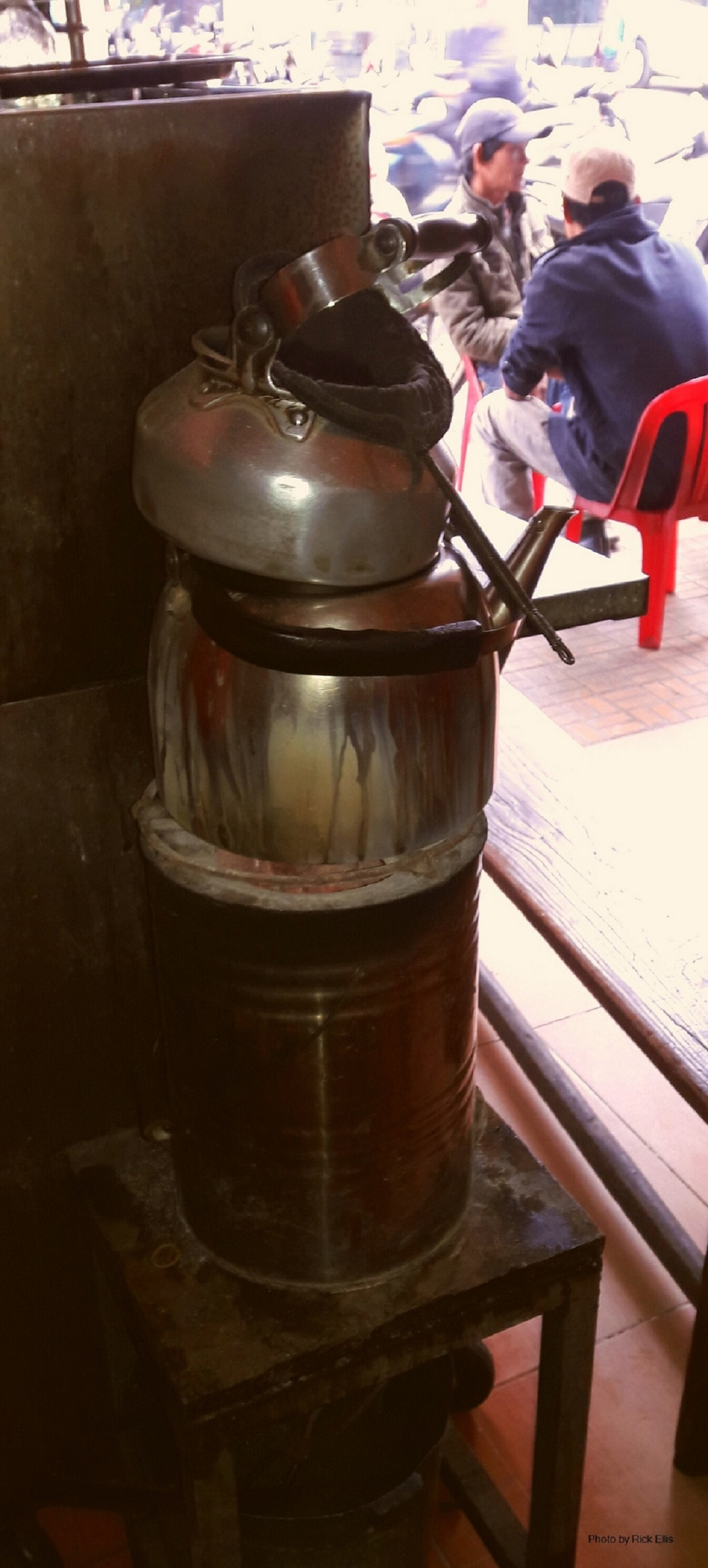 Coffee is prepared using cloth sock on a stove at a coffee shop in Da Lat City, Lam Dong Province, Vietnam. Photo: Rick Ellis