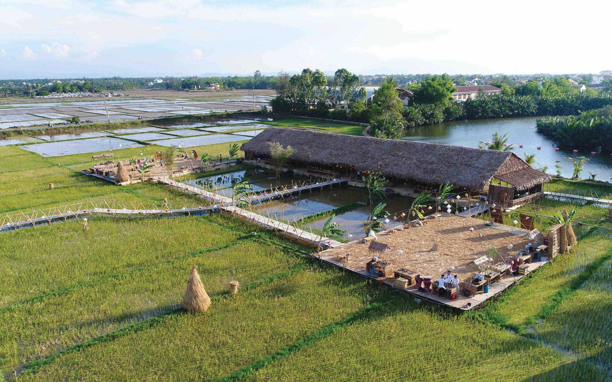 A bird eye's view of The Field Restaurant located in Cam Thanh Commune, Hoi An City, Quang Nam Province in central Vietnam. Photo: Thai Ba Dung / Tuoi Tre