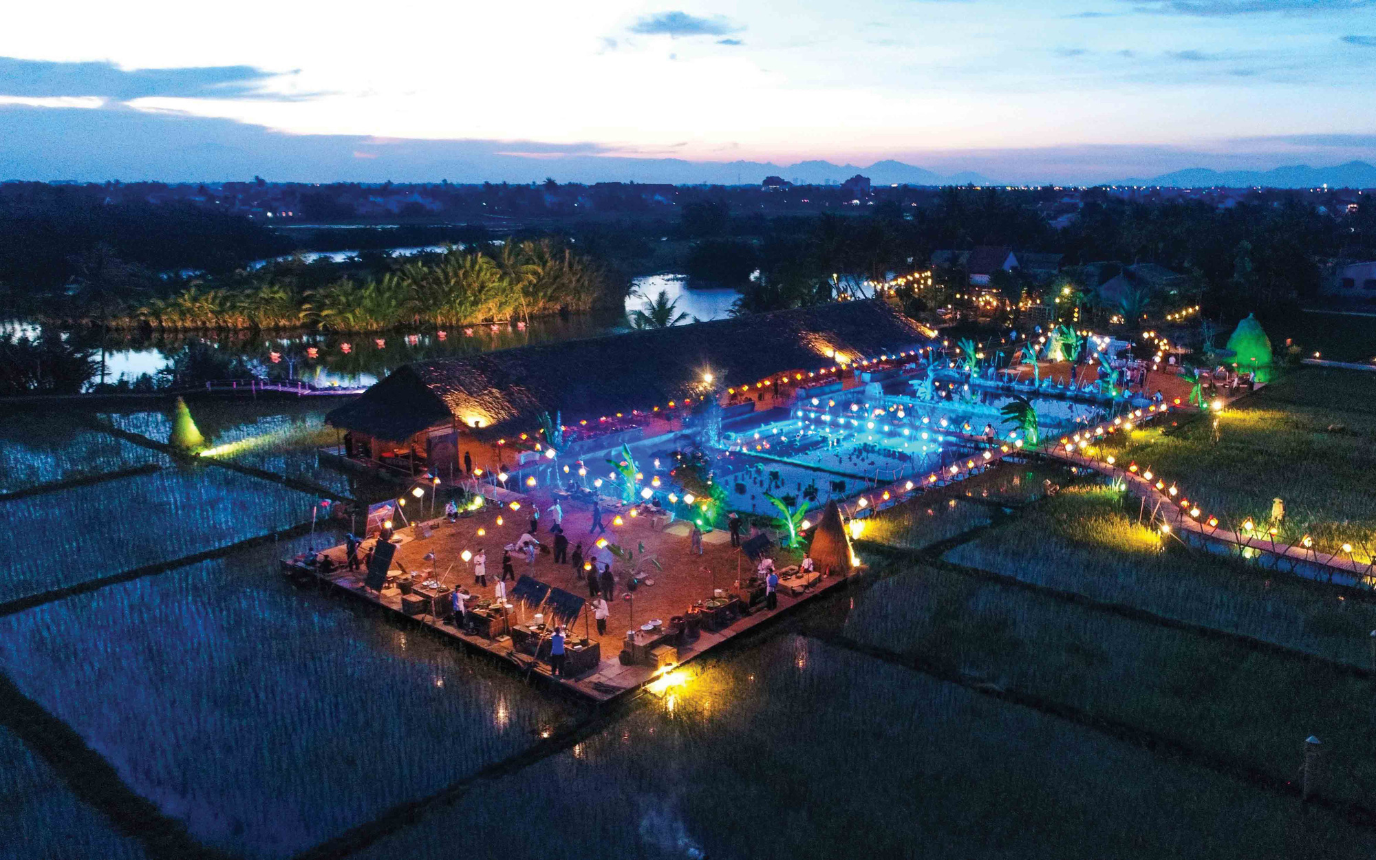 A bird eye's view at night of The Field Restaurant located in Cam Thanh Commune, Hoi An City, Quang Nam Province in central Vietnam. Photo: Thai Ba Dung / Tuoi Tre