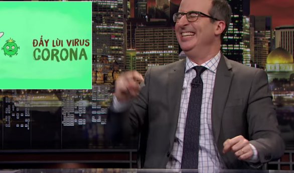 """A screenshot of the song """"Ghen Co Vy"""" being featured on the Last Week Tonight program on HBO"""