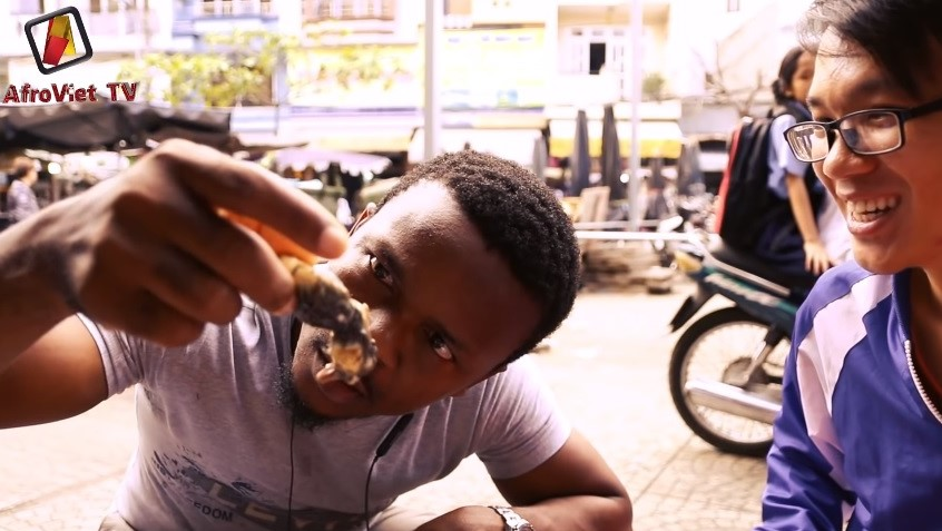 Nnadozie Uzor Nadis is seen trying Balut for the first time in a video on his YouTube Channel Afro Viet TV