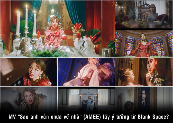 A collage of scenes from the 'Sao anh chua ve nha' music video by young Vietnamese singer AMEE being compared to similar shots the 'Blank Space' music video by Taylor Swift.