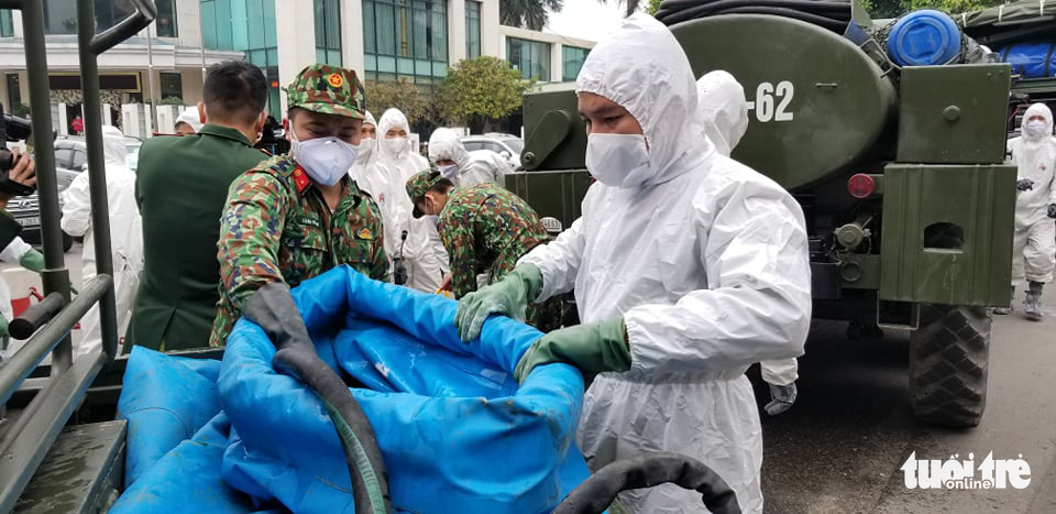 Vietnam deploys army to disinfect Hanoi neighborhood