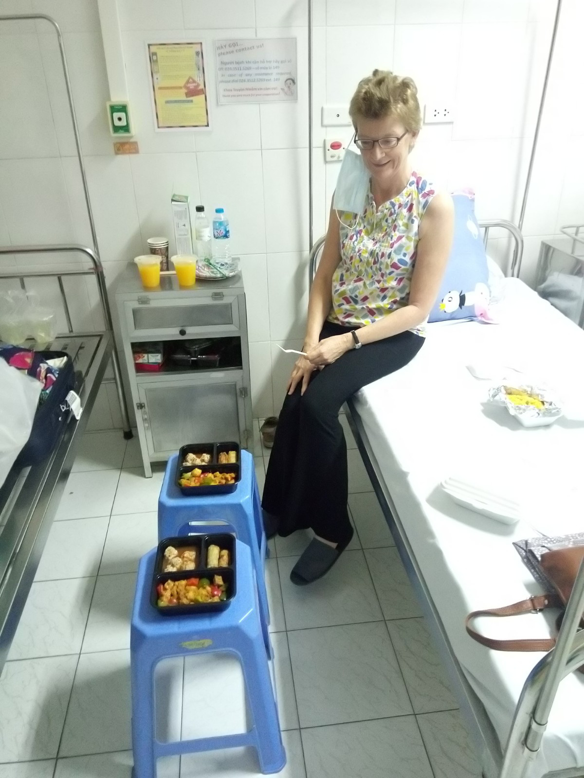 Cath Butler is pictured with the food she had at Dong Da General Hospital in Hanoi.