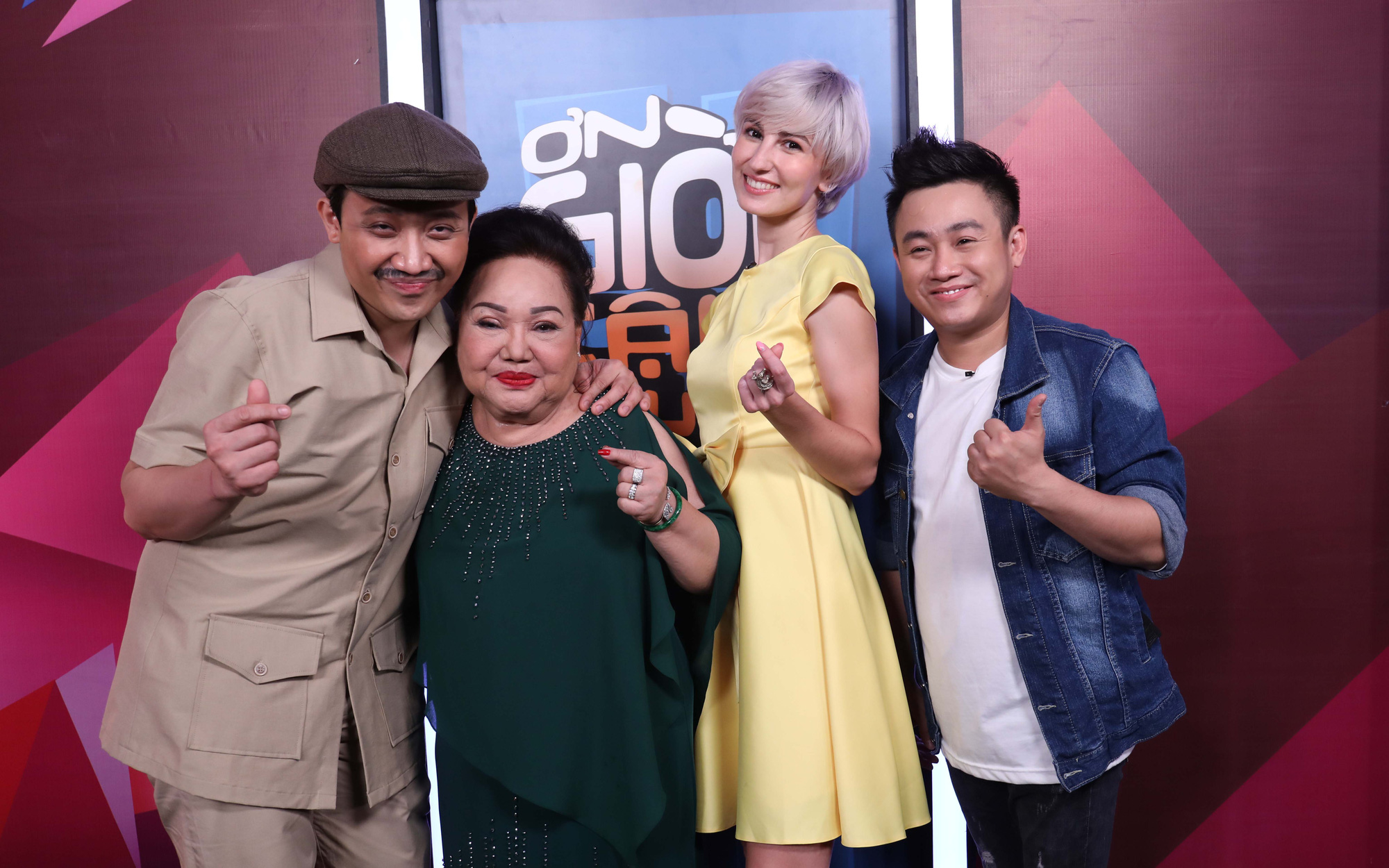 Micka Chu (second right) appears on the television show 'Thank God You're Here' on Vietnamese national television in this supplied photo.