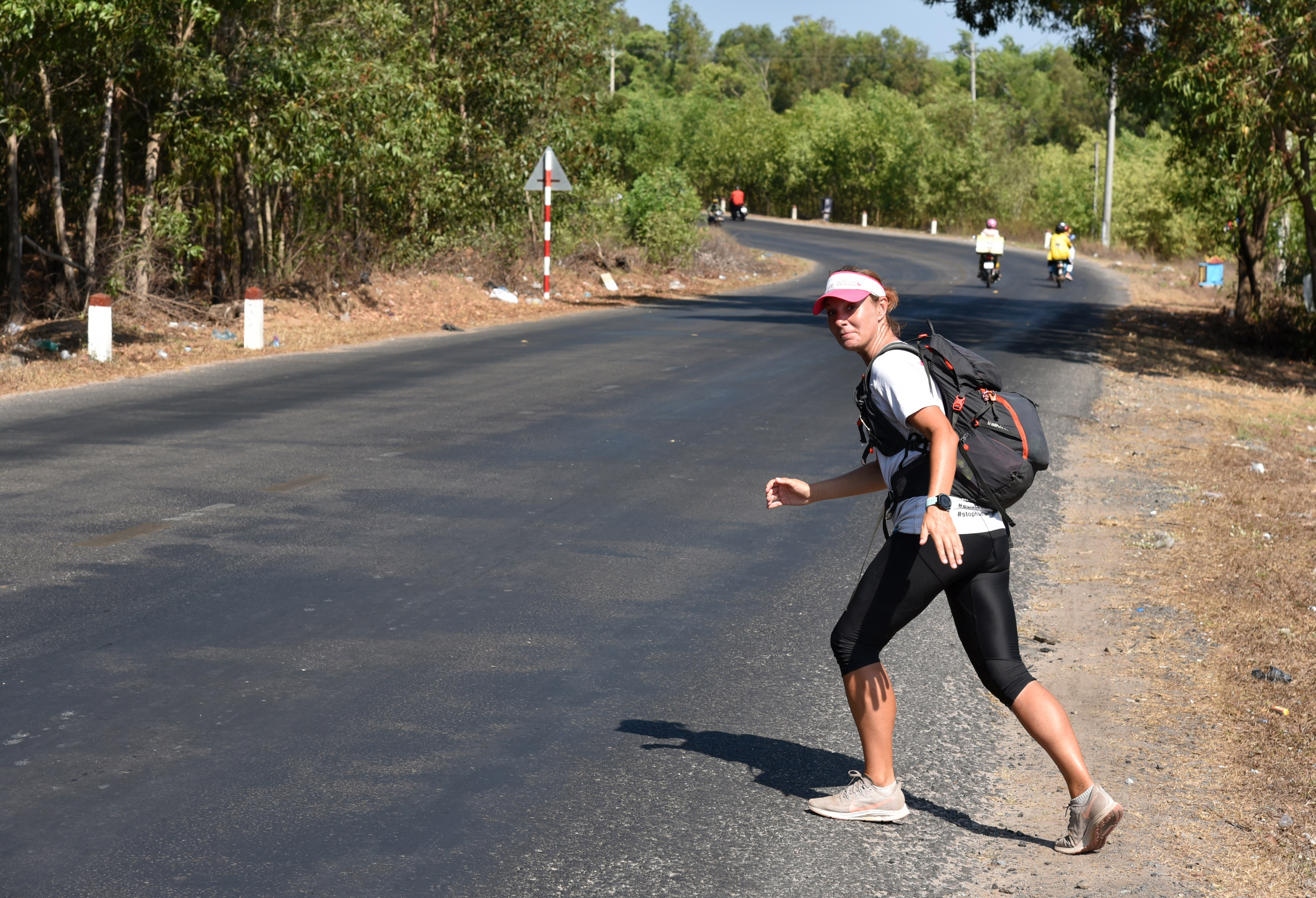 Naomi Skinner is seen on the road in this supplied photo.