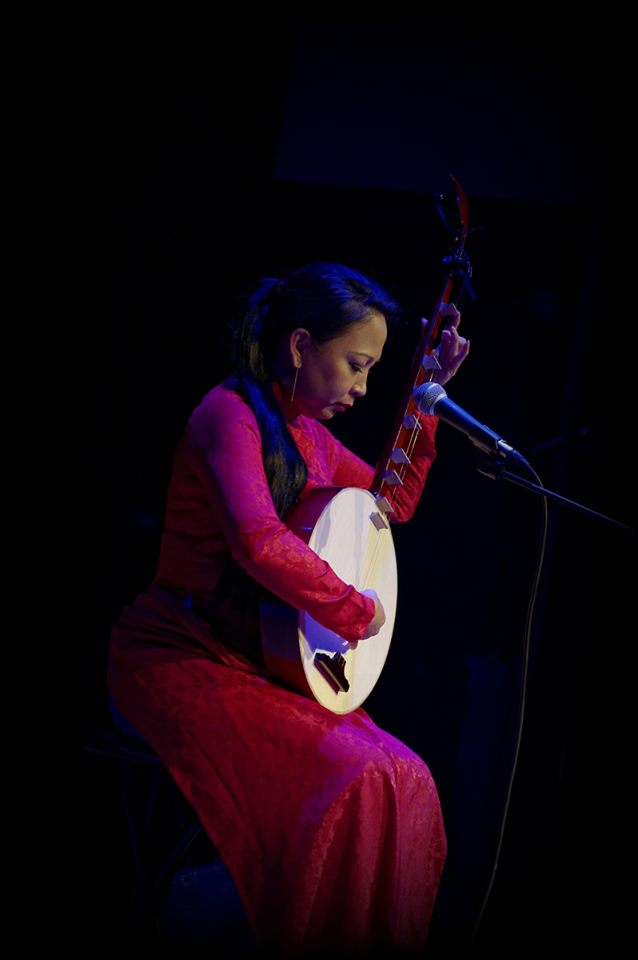 Artist Tran Thi Truc Tien performs on stage in this supplied photo.
