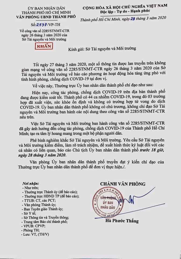 Ho Chi Minh City department criticized for causing panic with document on COVID-19 epidemic