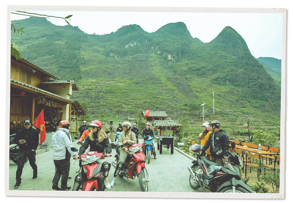 Foreign tourists are seen in Ha Giang Province, Vietnam.