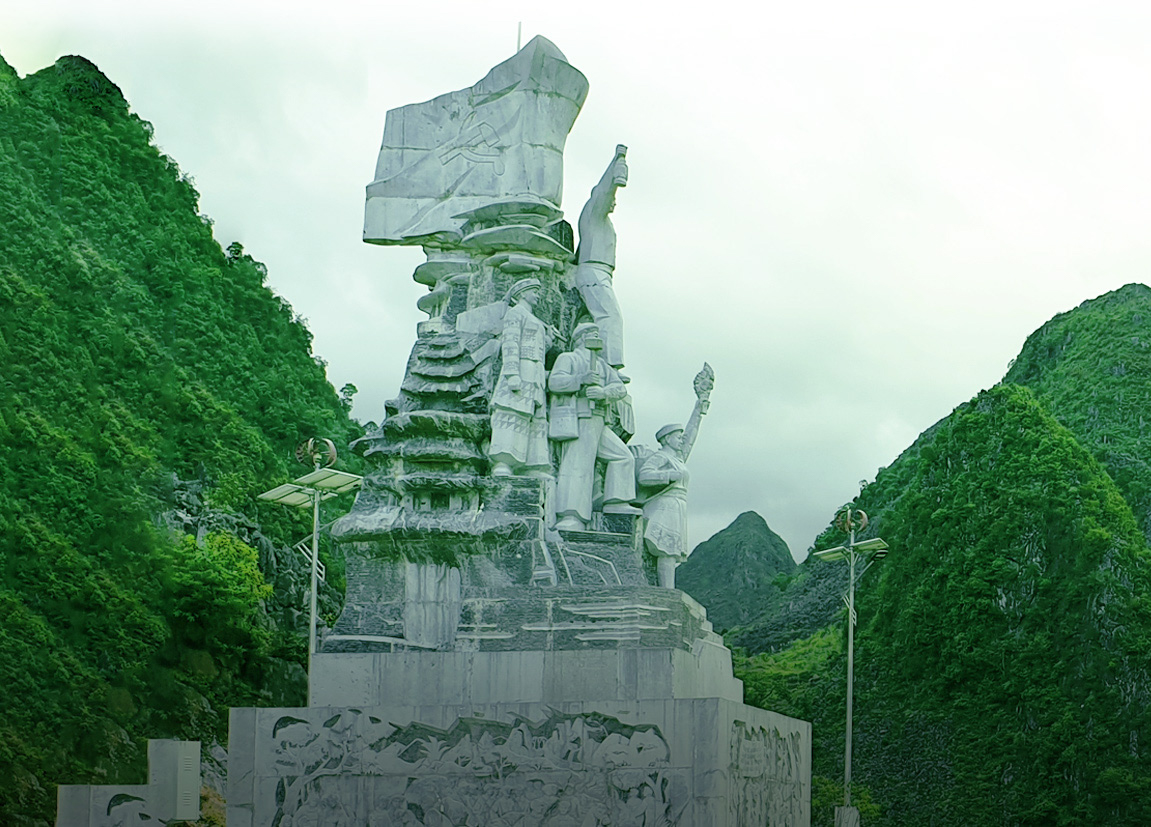 A monument dedicated to volunteers who died during construction of the Ha Giang Loop in Ha Giang Province, Vietnam.