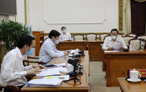 Ho Chi Minh City's leaders attend an online meeting on COVID-19 prevention and control, March 30, 2020. Photo: Ho Chi Minh City Press Center