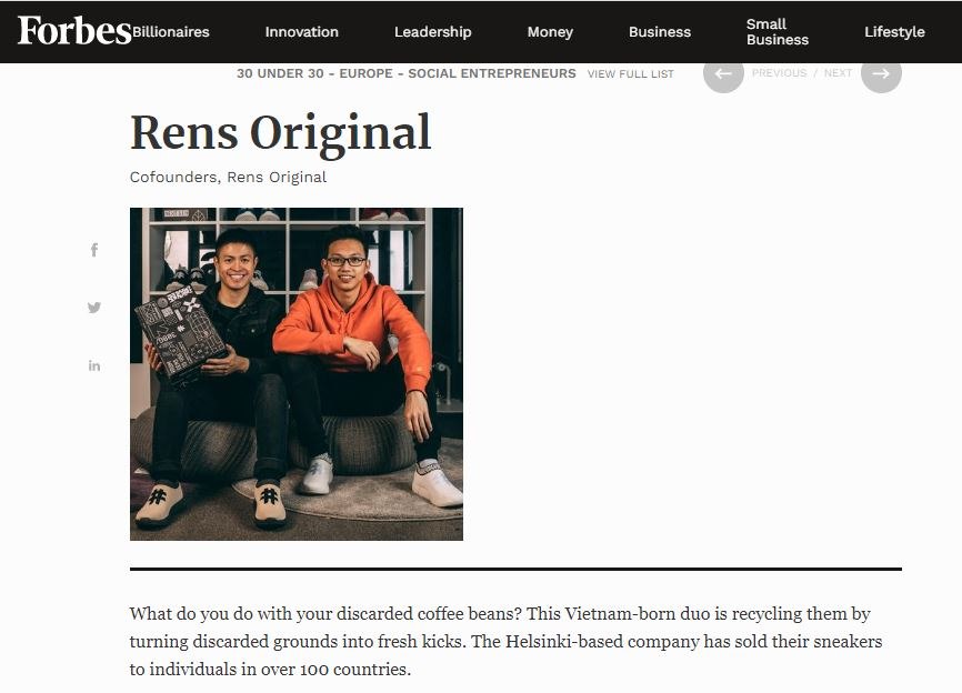 A screenshot shows Rens Original's profile in the Social Entrepreneurs category of the 2020 Forbes 30 Under 30 Europe list