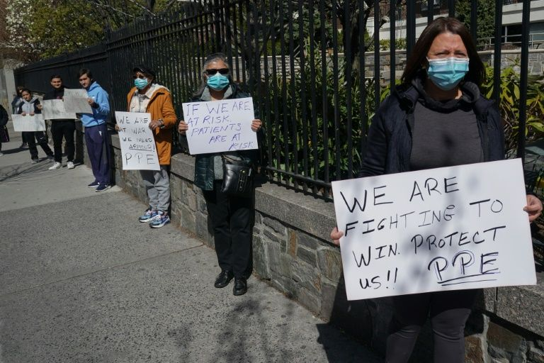 Montefiore Medical Center nurses call for N95 masks and other 'critical' PPE to handle the coronavirus (COVID-19) on April 1, 2020, in New York. Photo: AFP