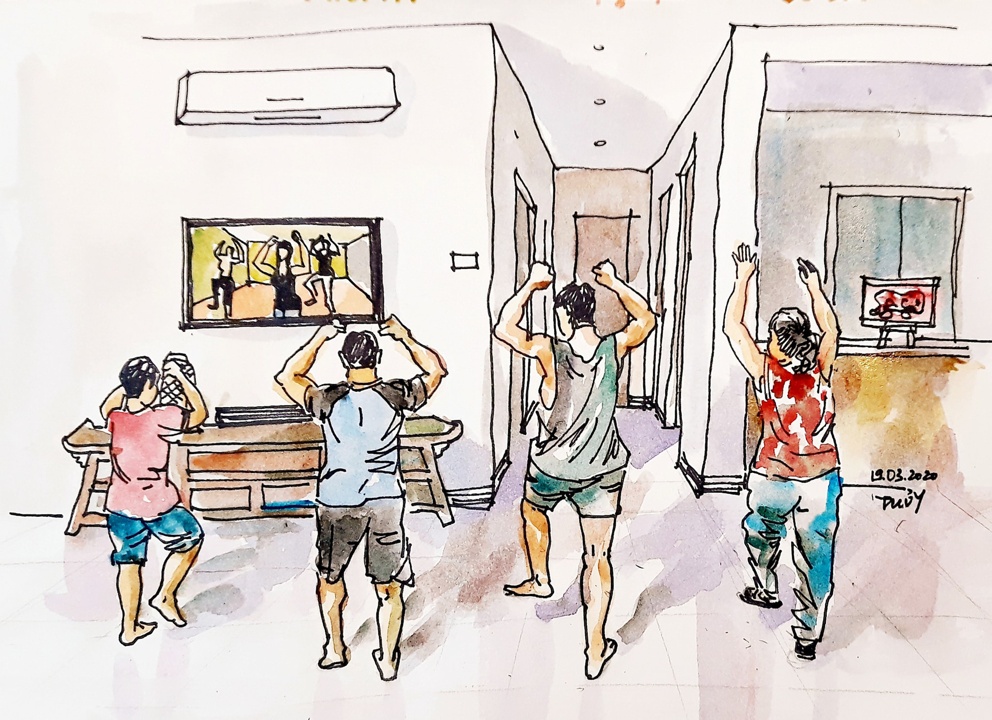 This sketch by Tran Thi Thanh Thuy features a family exercising in front of the television.