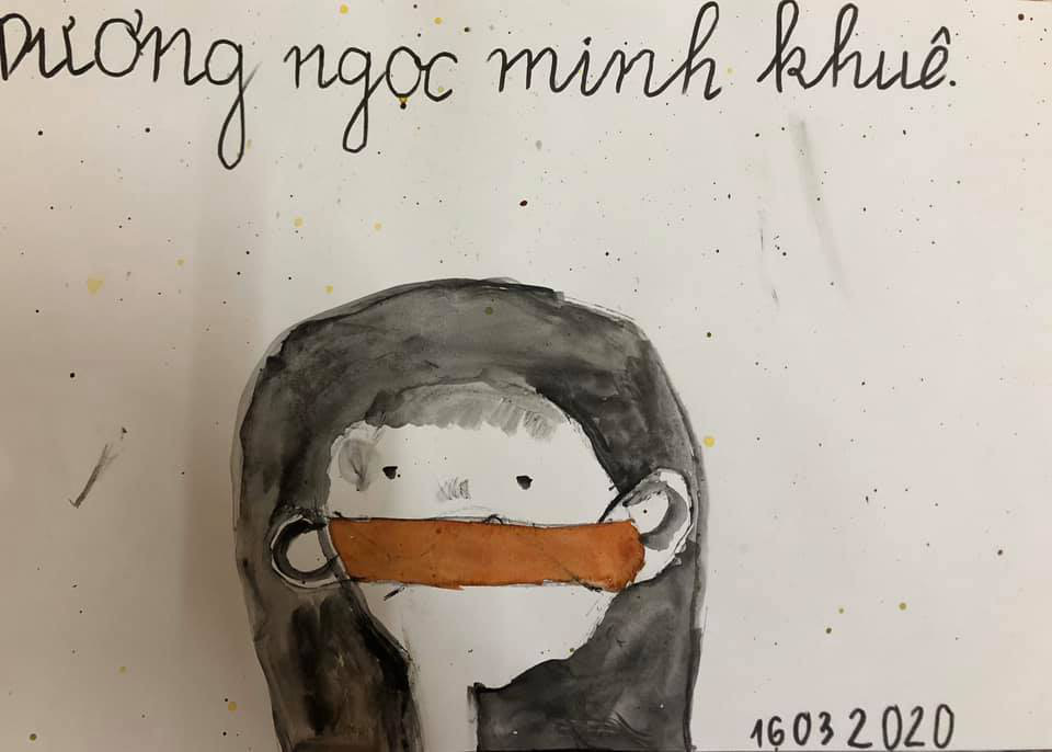 7-year-old Minh Khue's submission depicts a young a girl wearing a face mask, an appeal to the public to do the same.