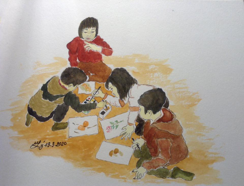 'Children gather at grandmother's home' is seen through the observation of Minh Ly.