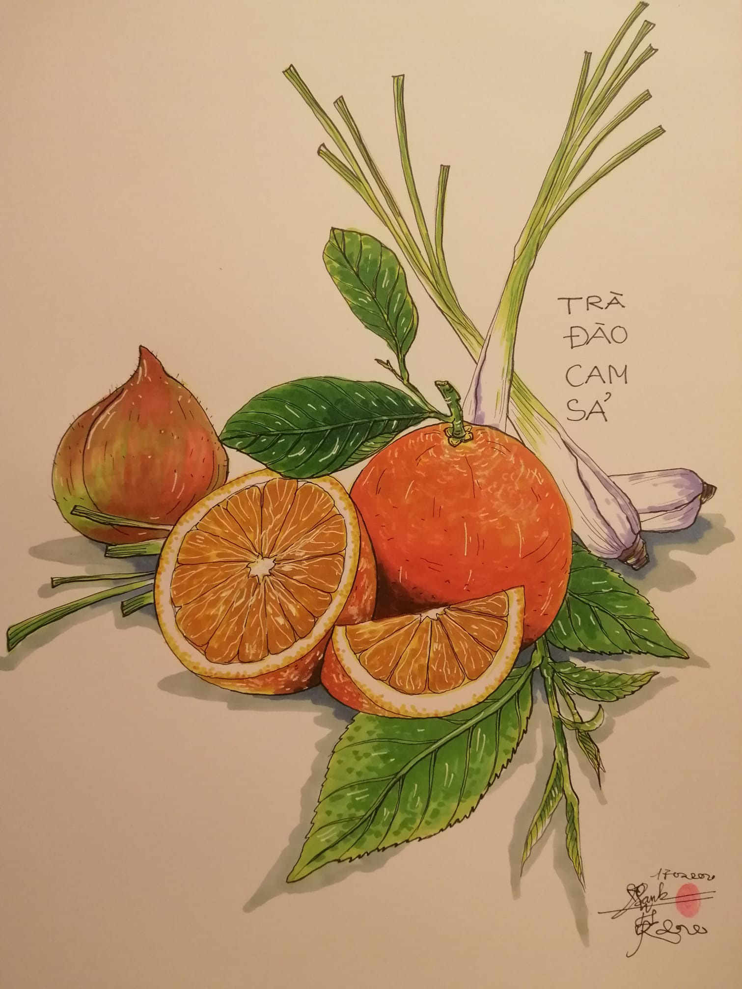 Luong Vu Lan Anh's sketch is meant to encourages people to consume more tea, peaches, oranges and lemongrass, all rich vitamin C, in order to improve the immune systems.