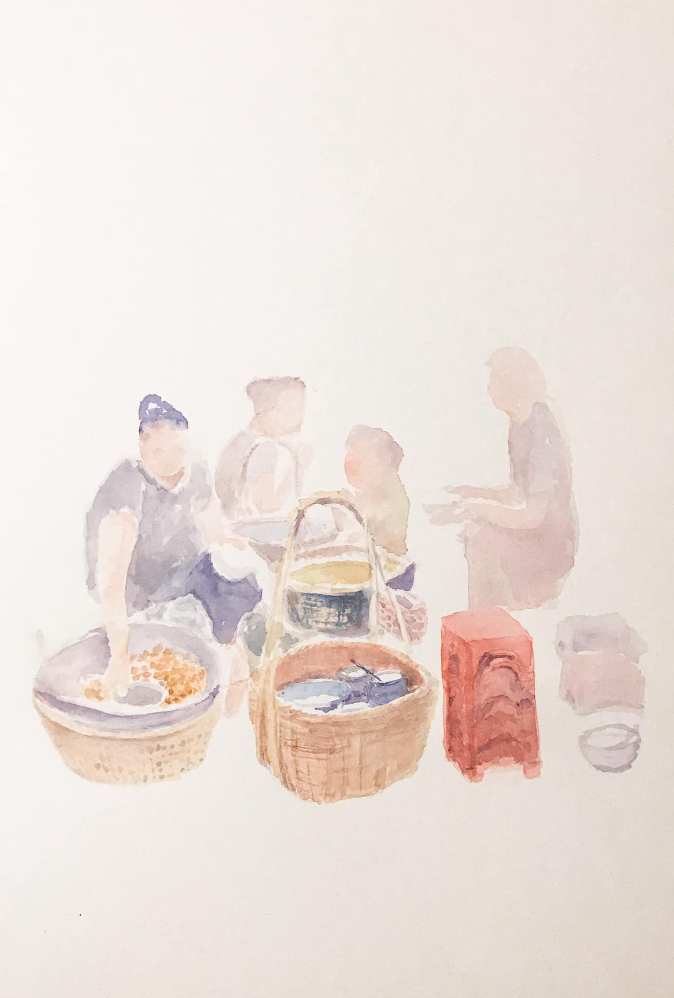 A porridge stand in Hanoi is seen in this sketch by Nam Phong.