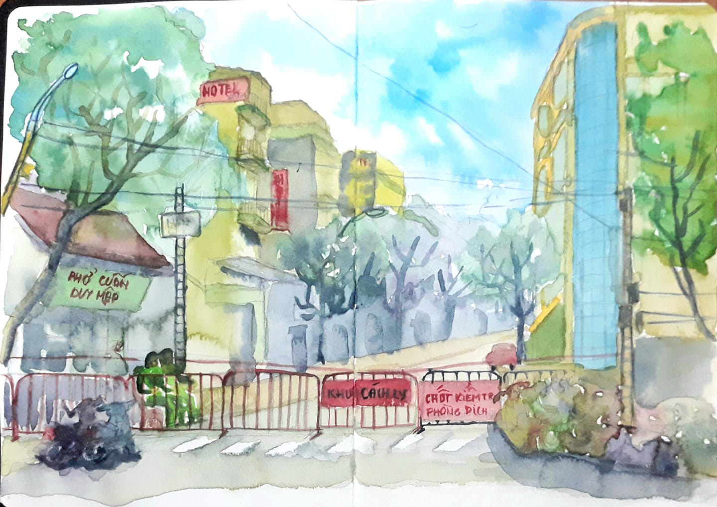 Artist Dang Truong Giang chooses to submit a sketch of his quarantined neighborhood on Truc Bach Street in Hanoi.