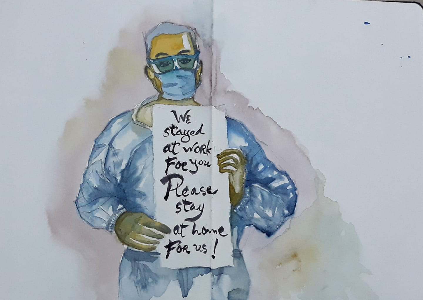 'We stay at work for you, please stay home for us' has been the motto of many healthcare professionals since the pandemic started, as shown in this sketch by Dang Truong Giang.