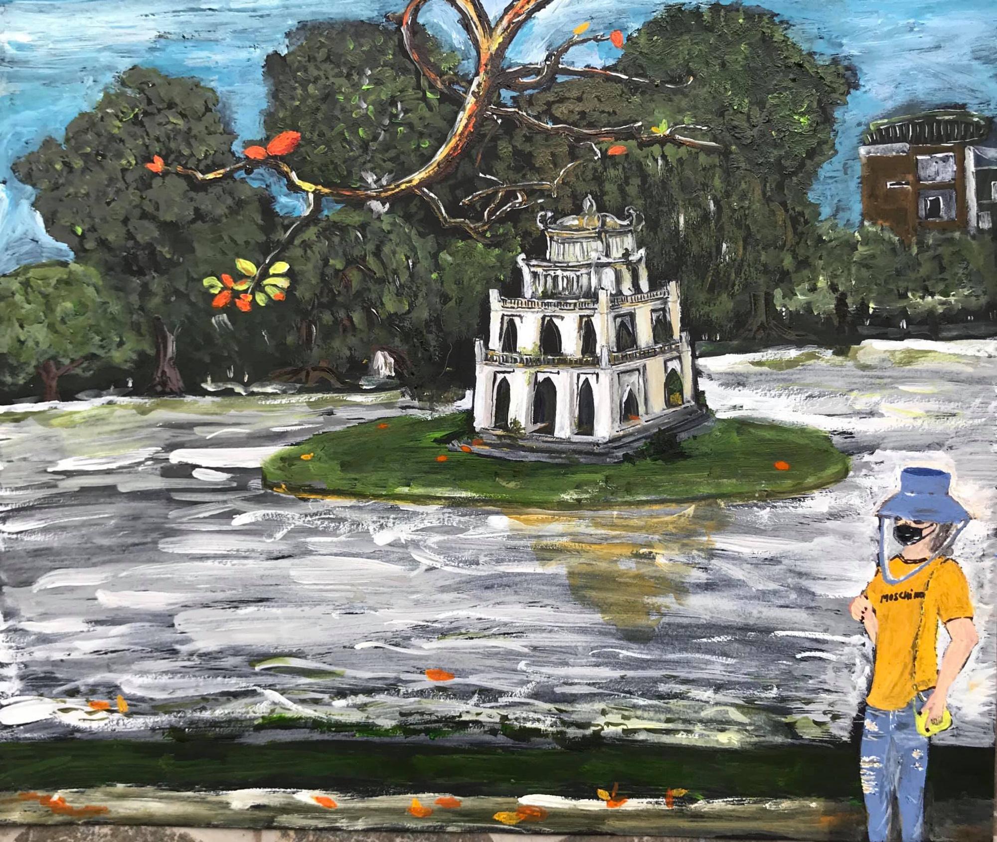 A pedestrian walks alongside Hoan Kiem Lake in Hanoi in this sketch by Sao Nguyen.