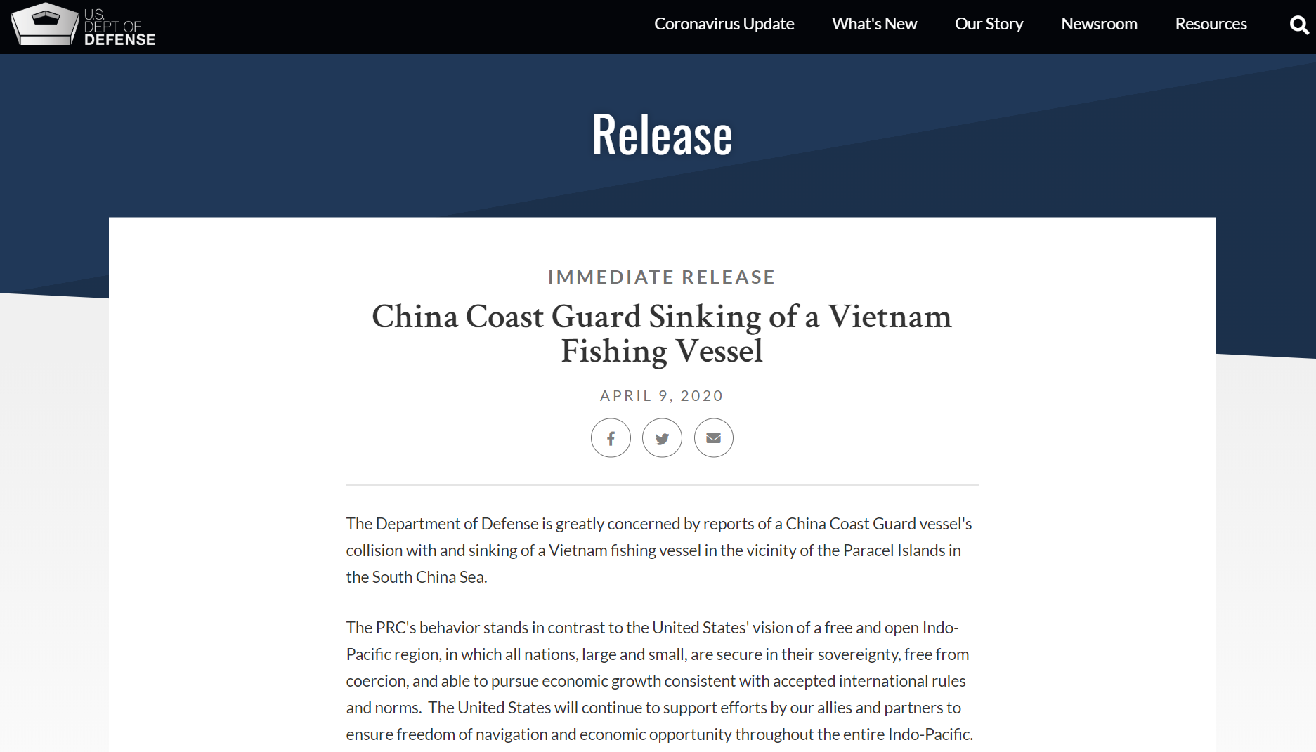 US Defense Department 'greatly concerned' by China's sinking of Vietnamese fishing boat
