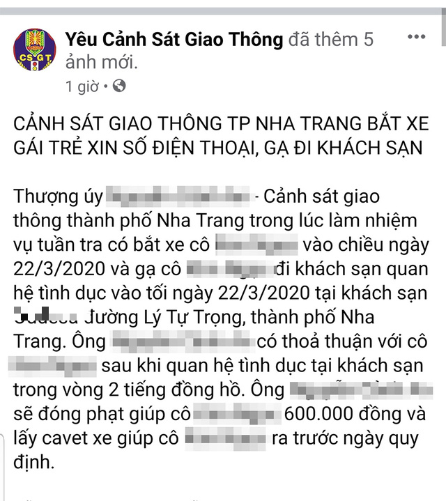The status posted by 'Yeu canh sat giao thong' Facebook page on April 18, 2020